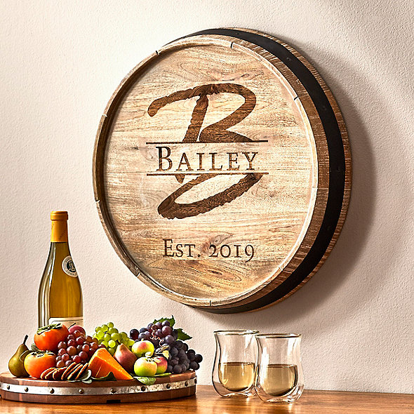 Personalized Barrel Head Sign With Single Initial, Name And Year