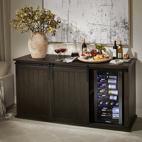 Mesa Sliding Barn Door Credenza with Wine Refrigerator - Rustic Black Finish