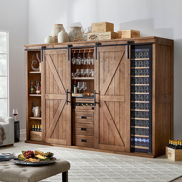 Mesa Sliding Barn Door Bar Center with Wine Enthusiast Classic 200 Wine Cellar