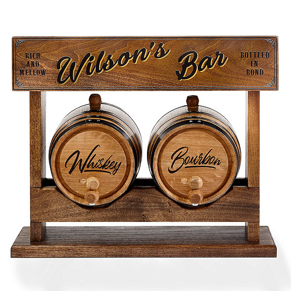 Personalized Double Mini Oak Barrel & Stacker Rack Set