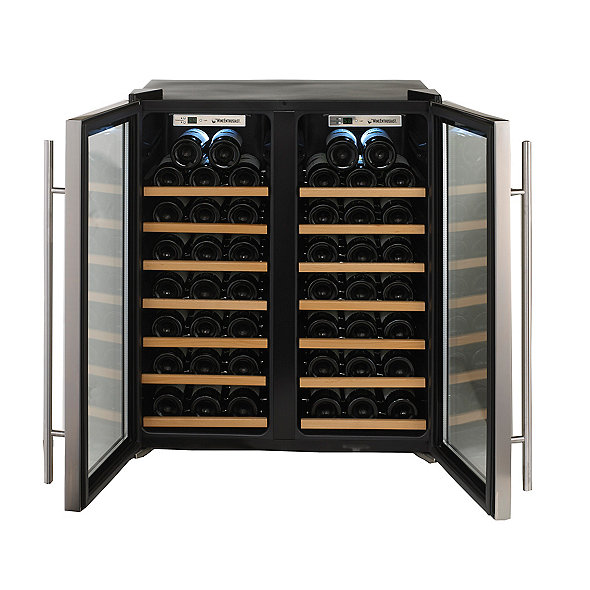 Wine Enthusiast Silent 48 Bottle Dual Zone Wine Refrigerator Stainless  Steel Trim Door