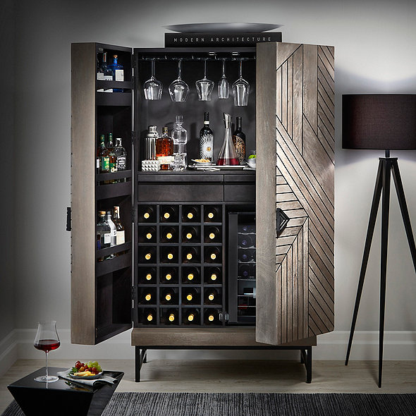 Cheverny Metal Inlay Bar Cabinet with Wine Refrigerator (Smoke Gray Finish)