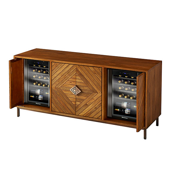 Cheverny Metal Inlay Sideboard with Two Wine Refrigerators