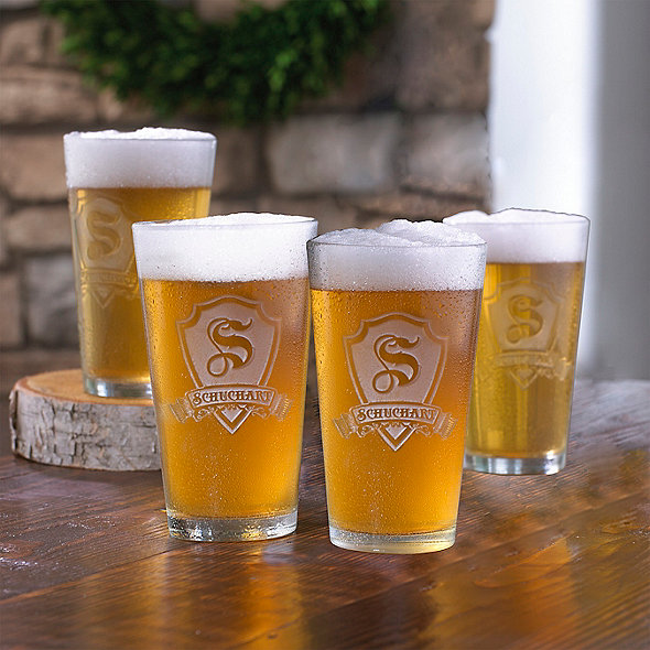 Personalized Shield Pint Glasses (Set of 4)