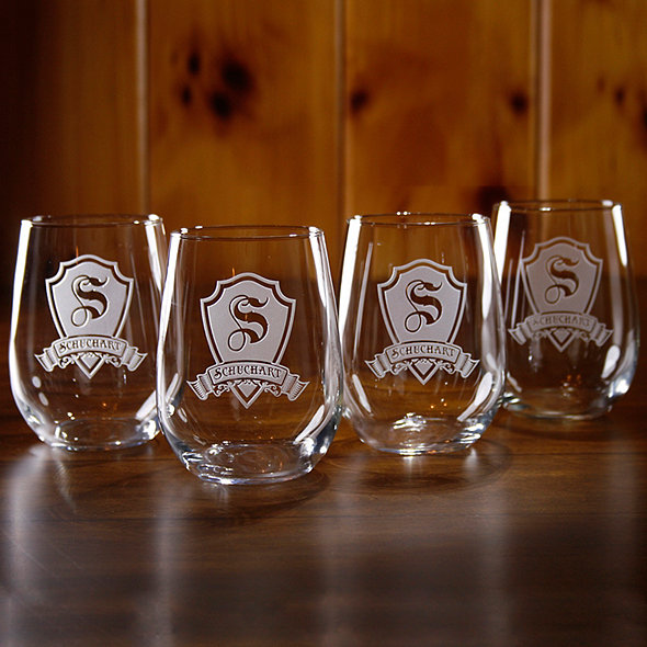 Personalized Shield Stemless Wine Glasses (Set of 4)