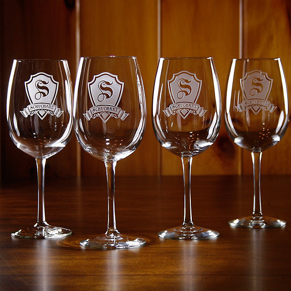 Personalized Shield Wine Glasses Set Of 4