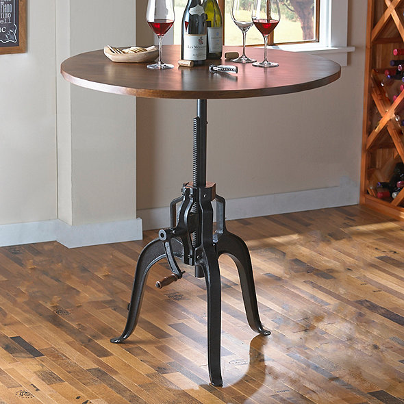 Industrial Crank Base Pub Table