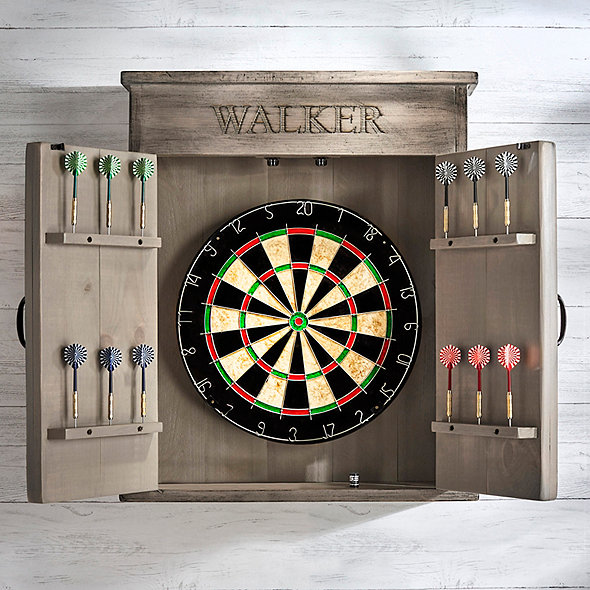 Personalized Dart Board Cabinet (Gray Finish)