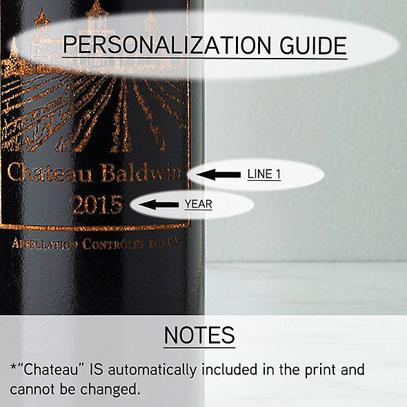 Personalized Ebony Wine Bottle Pepper Mill with Chateau Graphic