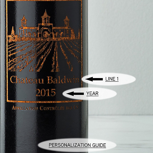 Personalized Ebony Wine Bottle Salt Mill with Chateau Graphic