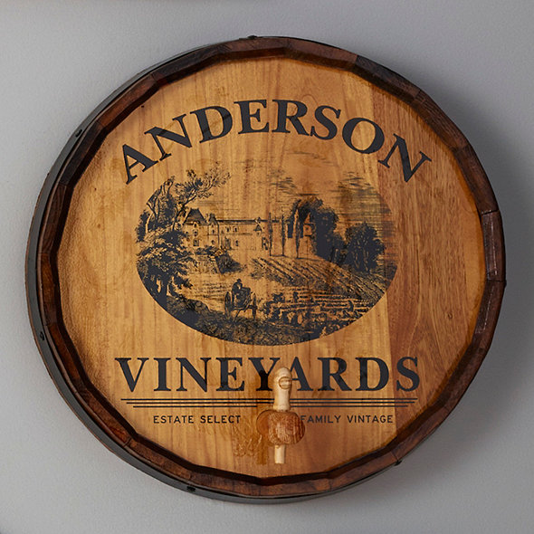 Personalized Quarter Barrel Head Sign with Spigot (Vineyard Graphic)