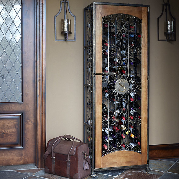 96-Bottle Antiqued Steel and Wooden Accent Wine Jail