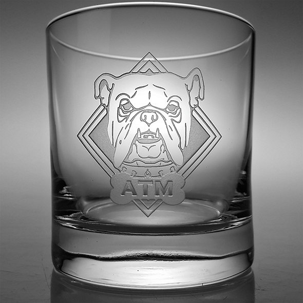 Monogrammed Etched Bulldog Double-Old Fashioned Glasses (Set of 2)