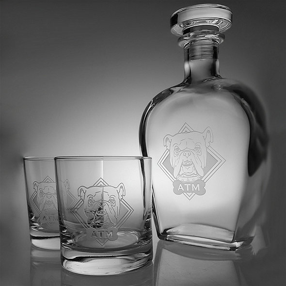 Monogrammed Etched Bulldog Decanter and Glasses Set