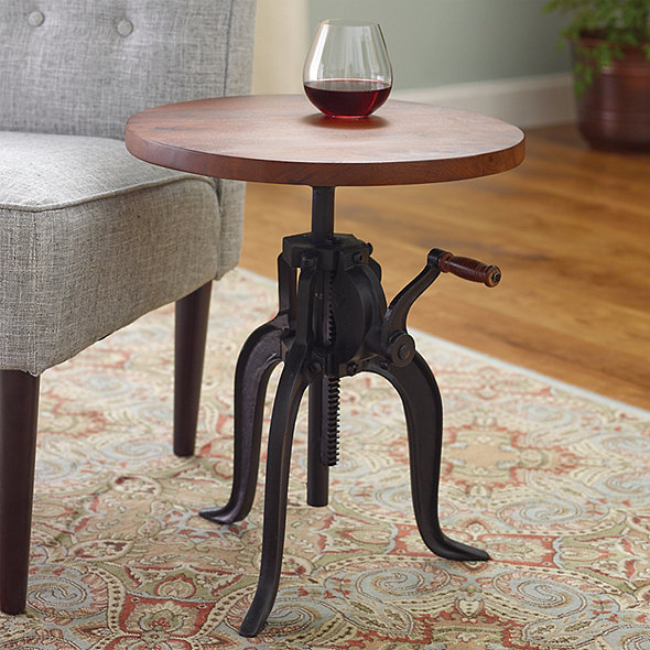 Industrial Crank Base Drinks Table