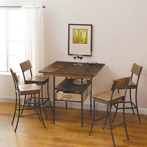 Vino Vintage Pub Table with 4 Pub Chairs
