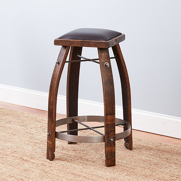 Vintage Oak Wine Barrel Bar Stool with Whiskey Finish and Chocolate Leather Seat