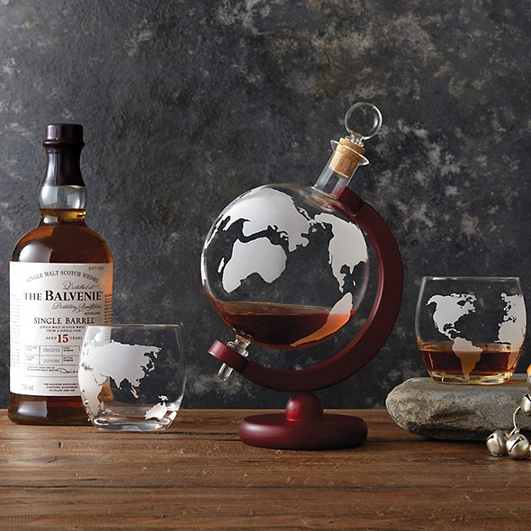 Etched Globe Whiskey Decanter & Glass Set