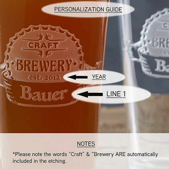 Personalized Etched 'CRAFT BREWERY' Pint Glasses (Set of 4)