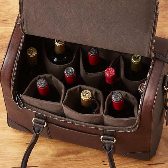 Leather Weekender Rolling Wine Bag
