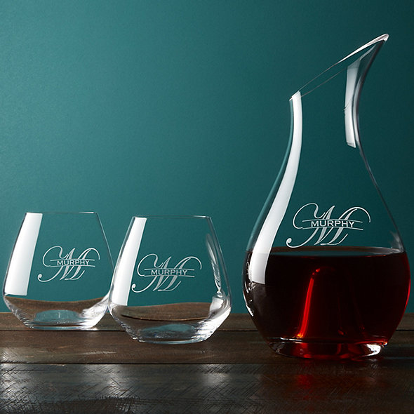 Personalized Wine Decanter And Tumblers Set