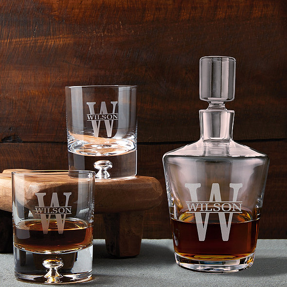 Personalized Ambassador Whiskey Decanter and Glasses Set