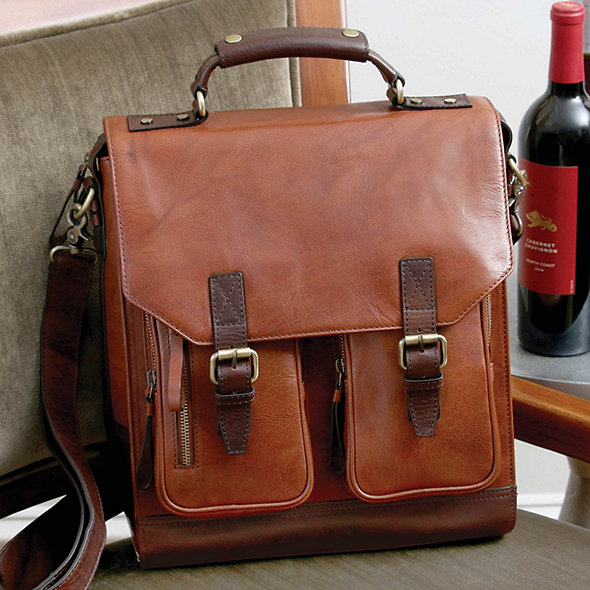3 Bottle Leather BYO Wine Bag (Chestnut)