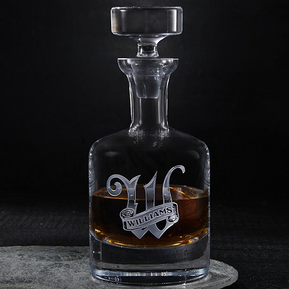 Personalized Deep Etched Whiskey Decanter & Glasses Set