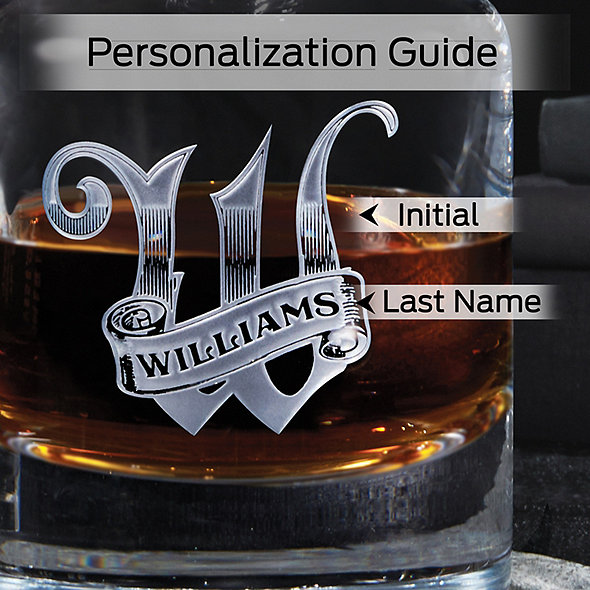 Personalized Deep Etched Whiskey Decanter