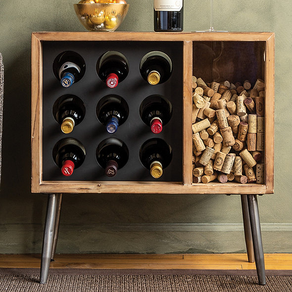 Cork Catcher Side Table With Wine Rack Wine Enthusiast