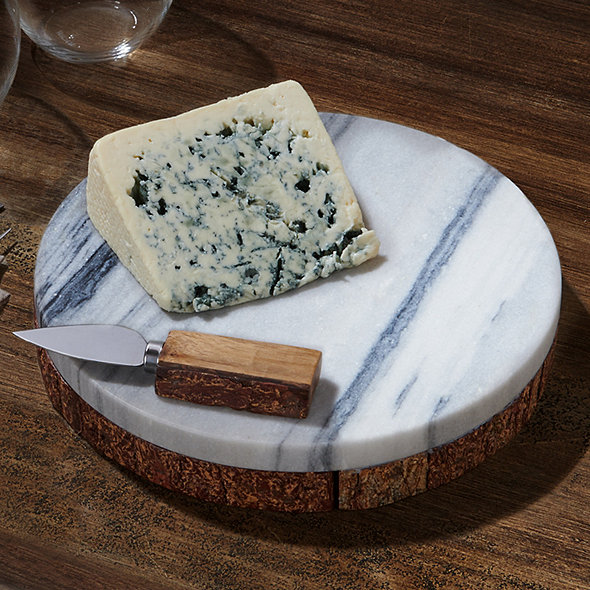 Marble and Live Edge Wood Cheese Board