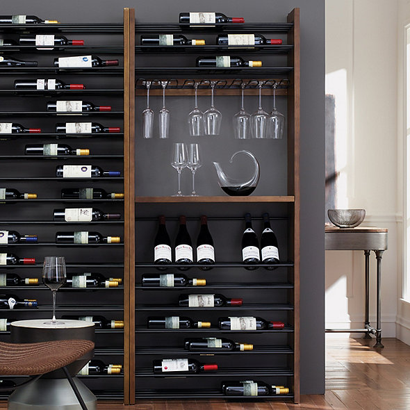 Corsica Triple Depth Vertical Display Wood And Metal Wine Rack
