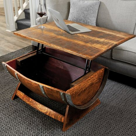 Wine Barrel Coffee Table.Reclaimed Wine Barrel Coffee Table With Unique Lift Top