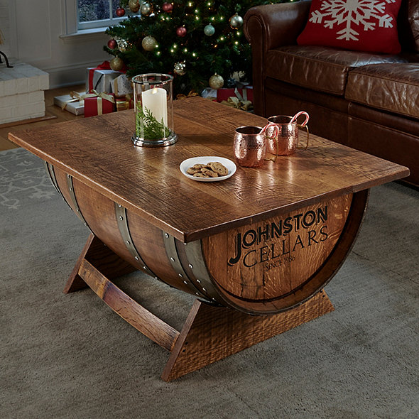 Personalized Reclaimed Wine Barrel Coffee Table With Unique Lift-Top