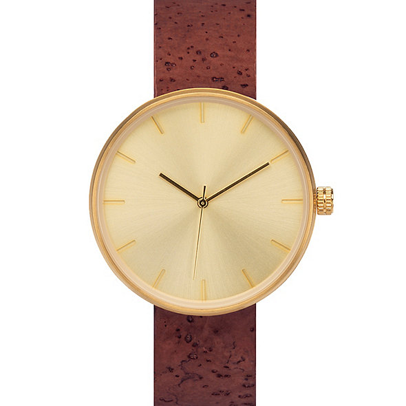 Analog 'Somm Collection' Gold Watch with Wine-Stained Cork Band