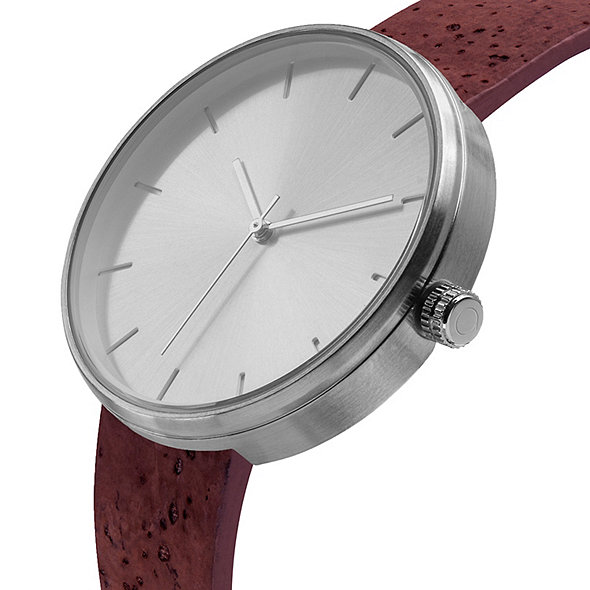 Analog 'Somm Collection' Silver Watch with Wine-Stained Cork Band