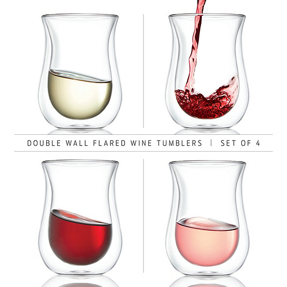 Wine Enthusiast Double Wall Flared Tumblers (Set of 4)