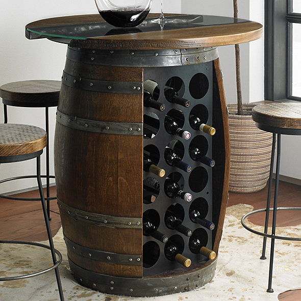 Loire Wine Barrel Pub Table with Glass and Wood Top