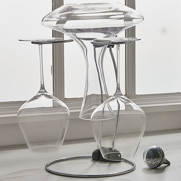 Folding Glassware Drying Stand With Decanter Cleaning Beads And Stem Shine Set