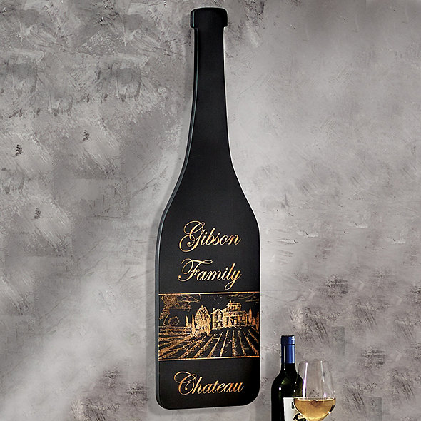 Personalized Wine Bottle Sign With Black Finish Chateau Design