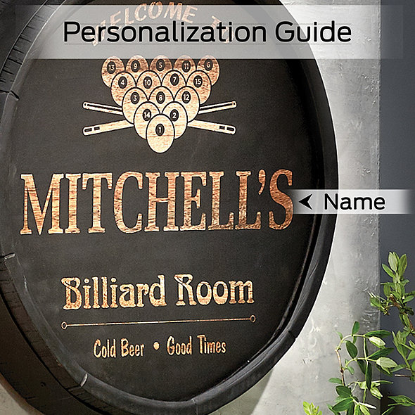Personalized Quarter Barrel Head Sign With Black Finish Billiard Room