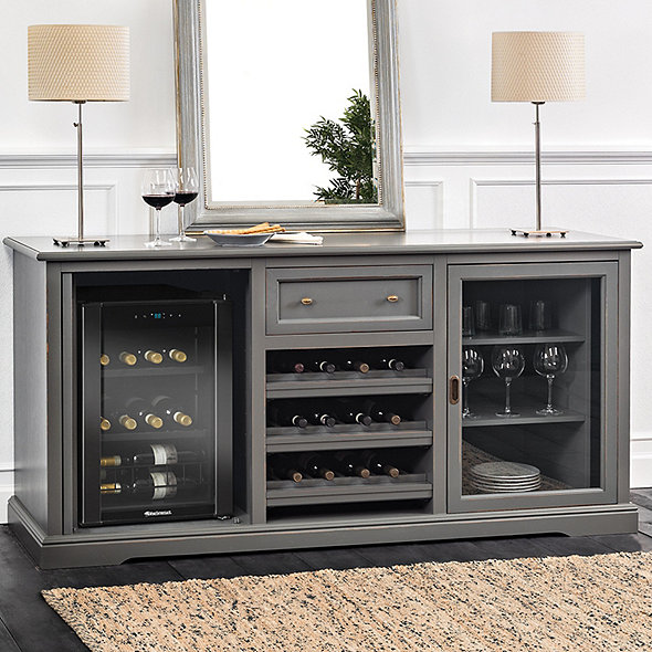 Siena Wine Credenza Antique Gray With Wine Refrigerator