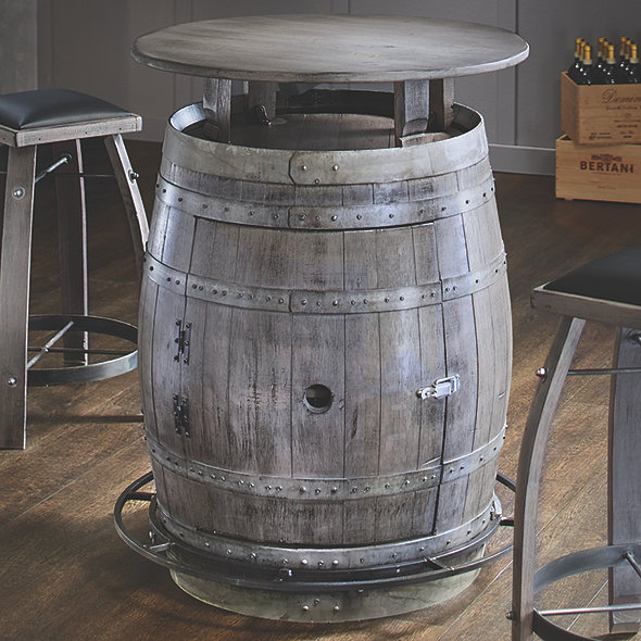 Vintage Oak Barrel Bistro Table (Antique Gray Finish)