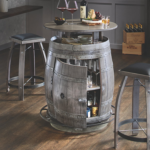 Vintage Oak Wine Barrel Bistro Table & Bar Stools (Antique Gray Finish)