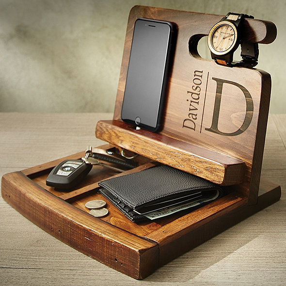 Personalized Reclaimed Wine Barrel Men's Deluxe Valet