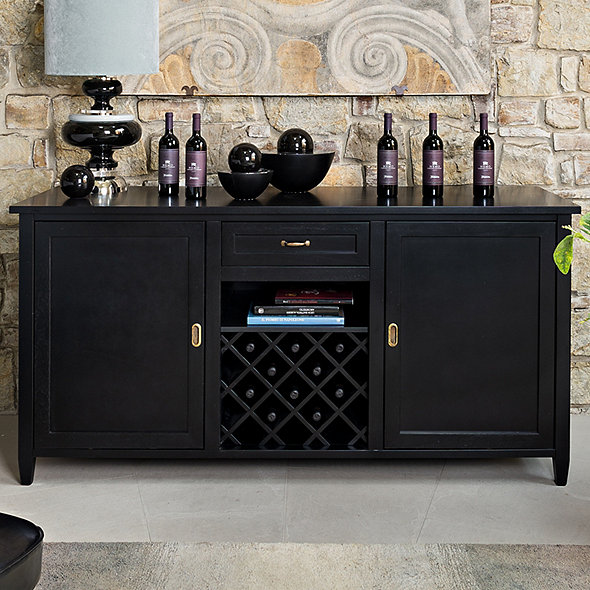 Firenze Wine and Spirits Credenza (Nero) with Two Wine Refrigerator