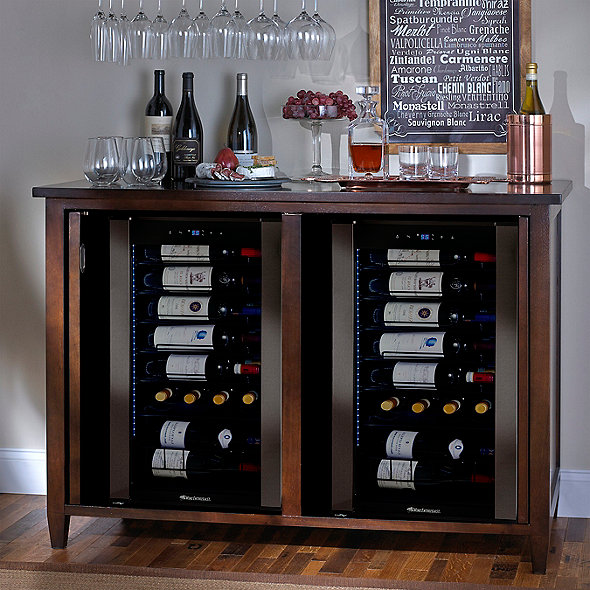 Firenze Mezzo Wine and Spirits Credenza (Espresso) with Two Wine Refrigerator