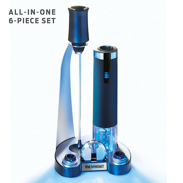 Electric Blue Pro All-In-One Automatic Wine Opener, Preserver & Electric Aerator 6-Piece Set