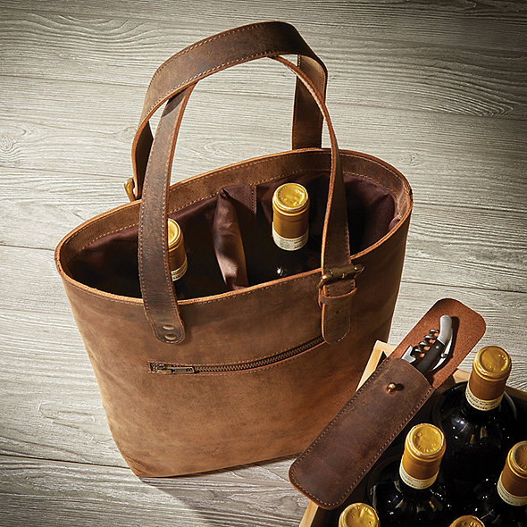 Genuine Buffalo Leather 2-Bottle Wine Tote with Waiter's Corkscrew