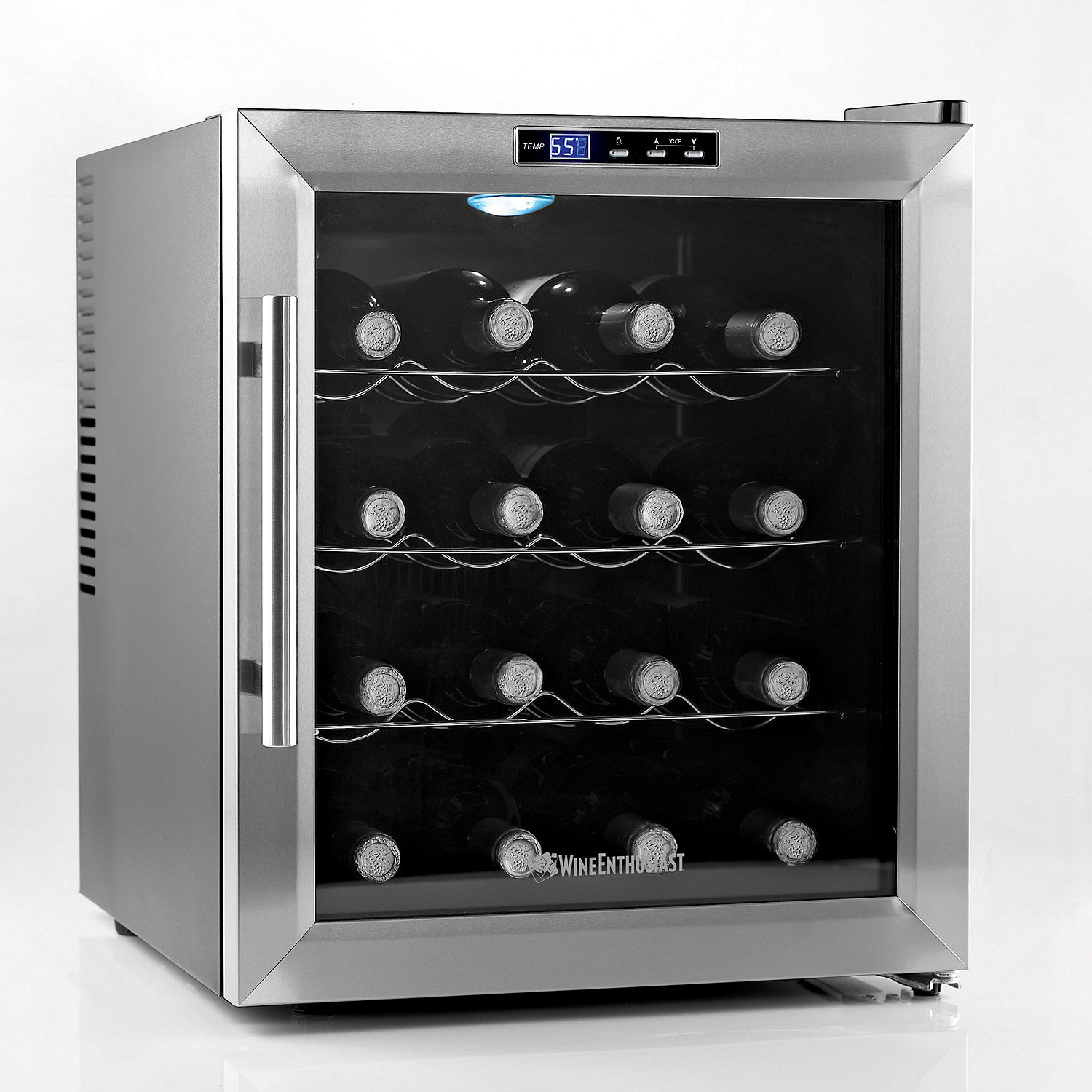 Wine Enthusiast Silent 16 Bottle Refrigerator Stainless Steel Trim
